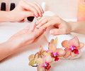 Manicure and pedicure body care spa treatments Royalty Free Stock Image