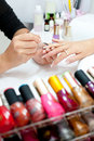 Manicure procedure, closeup Stock Images