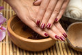 Manicure in the salon spa hand care Royalty Free Stock Photography