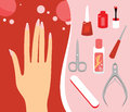 Manicure set woman hand and personal nail styling Stock Photography