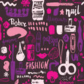 Manicure tools hand drawn vector seamless pattern with lettering and grunge make up items Royalty Free Stock Photo