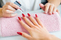 Manicure treatment at beauty salon close up Stock Photography
