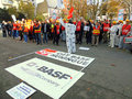 Manifestation in front of basf france employees demonstrating the against the small wages and the planned job layoffs november Stock Images