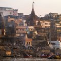 Manikarnika ghat on the banks of ganges river varanasi india march march in varanasi uttar pradesh india is Stock Image