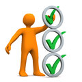 Manikin abstract checklist orange cartoon character with three green ticks and grey rings Stock Image