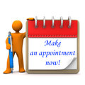Manikin appointment orange cartoon character with ballpen notepad and blue text make an now Stock Images