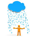 Manikin cloud data rain orange cartoon character with and bytes Royalty Free Stock Photography
