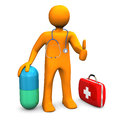 Manikin doc pill orange cartoon character with big and first aid case white background Royalty Free Stock Images