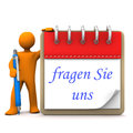 Manikin notepad ask us orange cartoon character with ballpen and german text fragen sie uns translate Stock Images