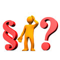 Manikin paragraph question orange cartoon character with red and red mark Stock Image