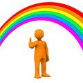 Manikin rainbow ok orange cartoon character with symbol and white background Royalty Free Stock Photography