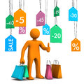 Manikin sale ok orange cartoon character with shopping bags and stickers on the white background Stock Image