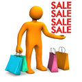 Manikin shopping bags sale orange cartoon character with colorful white background Stock Images