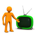 Manikin tv orange cartoon character with green on the white background Royalty Free Stock Photography