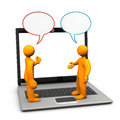 Manikins discussion laptop two orange cartoon characters with speech bubbles white background Stock Photography