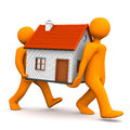 Manikins house two orange cartoon character carries a white background Stock Image