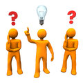 Manikins questions idea orange cartoon characters with red question marks and a bulb Royalty Free Stock Photo