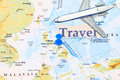 Manila on a map with push pin and travel cutout Royalty Free Stock Photo