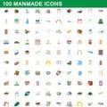 100 manmade icons set, cartoon style Royalty Free Stock Photo
