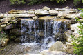 Manmade waterfall with fir trees rust colored sandstone forms a that splashes over rocks and pebbles among and evergreen shrubbery Stock Photo