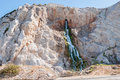 Manmade waterfall in gibraltar from the outlet of the desalination plant that supplies with fresh water Stock Photos