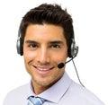 Mannelijk call centre representatief wearing headset Royalty-vrije Stock Afbeeldingen