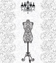 Mannequin and chandelier on lace background Royalty Free Stock Images