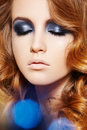 image photo : Fashion model. Winter glitter make-up, curly hair
