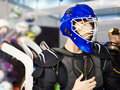 Mannequin in hockey equipment at sport shop Royalty Free Stock Photo