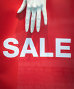 Mannequin sale sign a hand and retail store display Stock Photography