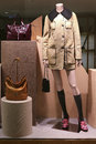 Mannequin with winter coat and leather handbags window display a fitted attractive dress bags for women Royalty Free Stock Photography