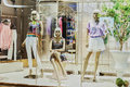 Mannequins in fashion shop window Royalty Free Stock Photo