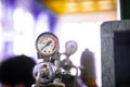 Manometer of an air compressor closeup Royalty Free Stock Photography