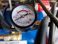 Manometer for measure air pressure of pumping machinery Royalty Free Stock Photos