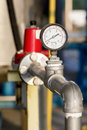 Manometer or pressure gauge at a natural gas purification plant Royalty Free Stock Photo