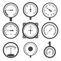Manometer pressure gauge and vacuum gauge icons vector illustration Royalty Free Stock Image