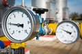 Manometer pressure on the oil and gas industry Royalty Free Stock Photos