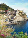 Manorola village in cinque terre scenery of italy Stock Image