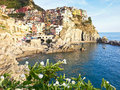 Manorola village in cinque terre scenery of italy Royalty Free Stock Photography