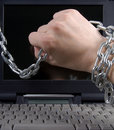 Mans hand in chain Stock Image