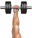 Mans hand lifts a dumbbell is lifting up and holding dumbbells are used for fitness workouts weightlifting and endurance training Royalty Free Stock Photography
