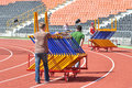 Mans takes the barriers after the competition photo was taken during junior team of ukrainian championship in athletics between Royalty Free Stock Photo