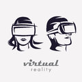 Mans and womans head in VR glasses icon,