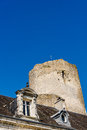 Mansard roof and tower of the medieval castle Royalty Free Stock Photo