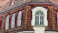 Mansard windows on a tile roof of the house in Tallinn Royalty Free Stock Photo