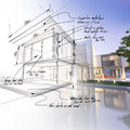 Mansion draft d rendering of a luxurious villa contrasting with a technical part Royalty Free Stock Photo