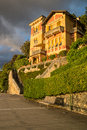 Mansion in levanto city during sunset time Royalty Free Stock Images