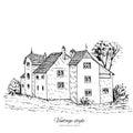 Mansion vintage vector sketch tile old european house, Historical building sketchy line