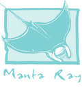 Manta ray in Blue Stock Image