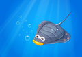 A manta ray under the sea lllustration of Royalty Free Stock Photo